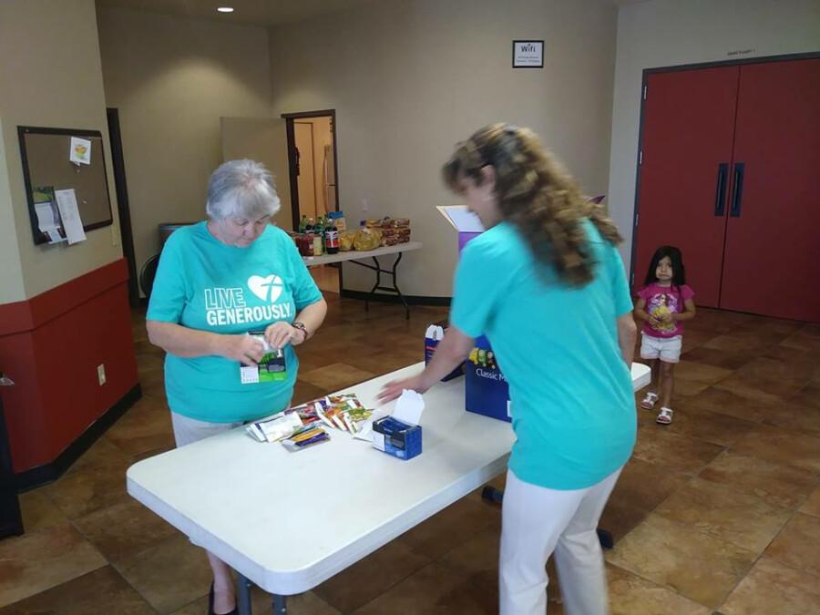 Volunteers assembling baskets 1