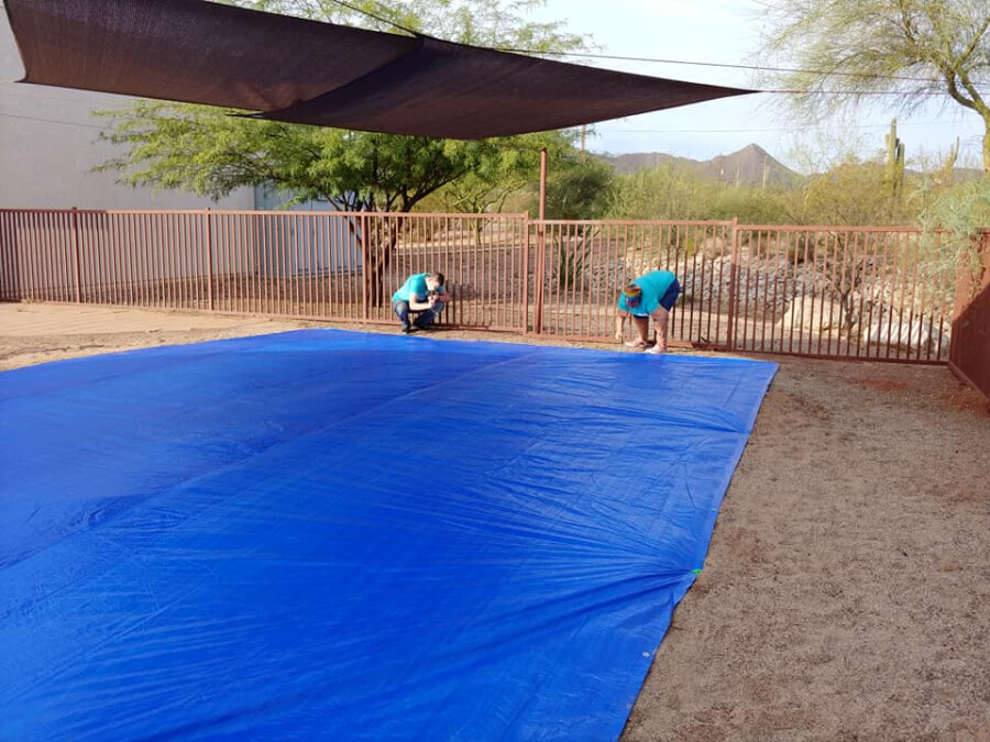 laying the tarp
