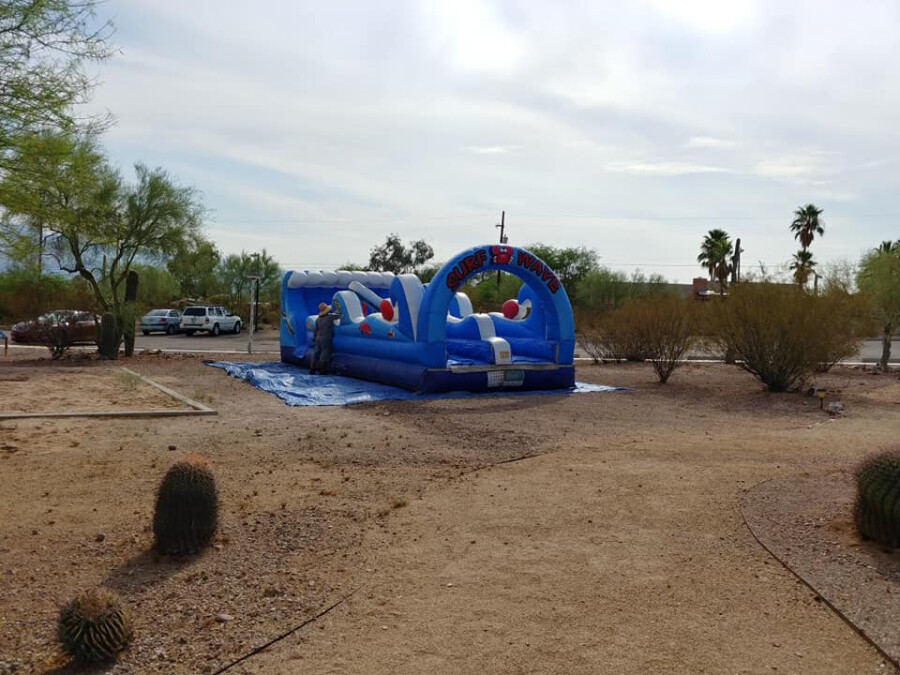 setting up water slide